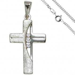 Anhänger Kreuz 925 Silber 3 Zirkonia Kreuzanhänger Silberkreuz mit Kette 60 cm