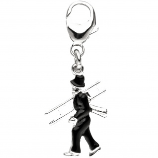 Einhänger Charm Schornsteinfeger 925 Sterling Silber Anhänger für Bettelarmband