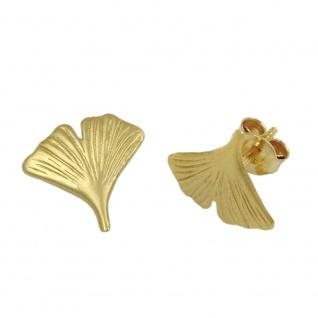Stecker 12mm Ginkgoblatt mattiert 9Kt GOLD