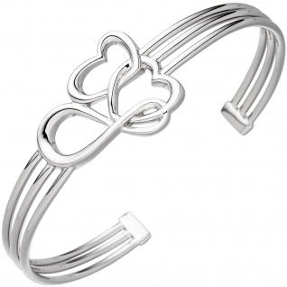 Armspange / offener Armreif Herz Herzen Unendlich 925 Sterling Silber Armband