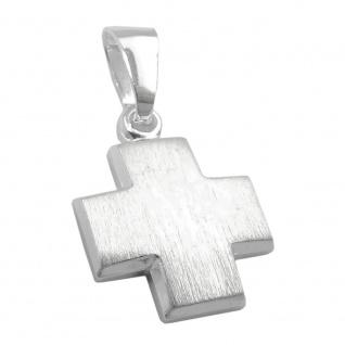 Anhänger, Kreuz, mattiert, Silber 925