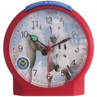 Atlanta 1189/1 Wecker Kinderwecker Pferd rot leise Pferdewecker für Kinder