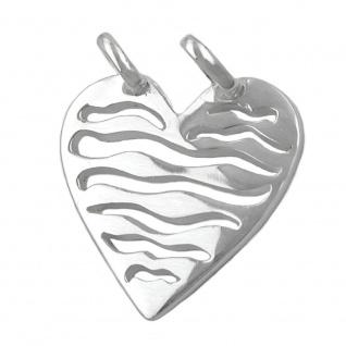 Anhänger 21mm Herz mit 2 Ösen glänzend Silber 925