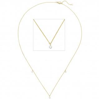 Collier Halskette 750 Gold Gelbgold 3 Diamanten Brillanten 45 cm
