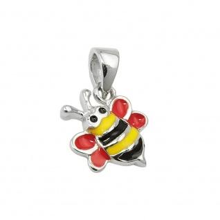 Anhänger 10x10mm Biene rot-gelb-schwarz-emailliert Silber 925