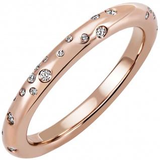 Damen Ring 585 Gold Rotgold Roségold 34 Diamanten Brillanten Diamantring