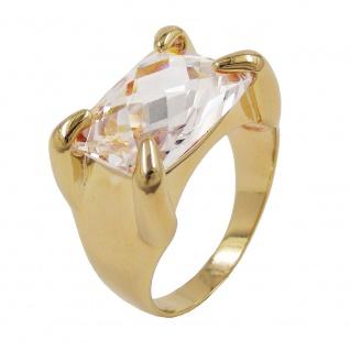 Ring mit 14x10mm großem Zirkonia 3 Mikron vergoldet Ringgröße 60