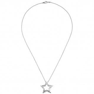 Collier Kette mit Anhänger Stern Edelstahl 1 Kristall 48 cm Halskette