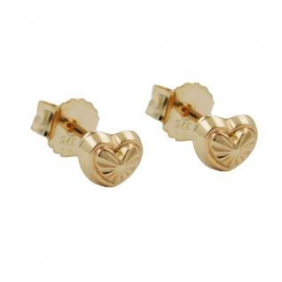 Stecker 4mm Herz mit Muster glänzend 9Kt GOLD