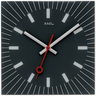 AMS 9575 Wanduhr Quarz analog Glas schwarz eckig leise ohne Ticken