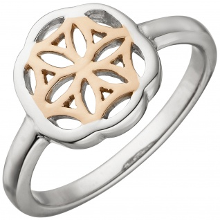 Damen Ring 925 Sterling Silber bicolor vergoldet