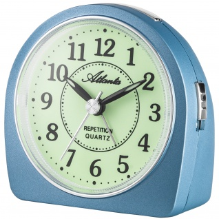 Atlanta 1586/5 Wecker Quarz analog blau leise ohne Ticken mit Licht Snooze
