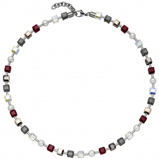 Collier Halskette Kristallsteine mit Edelstahl 45 cm Kette