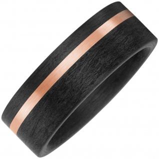 Partner Ring Carbon mit 585 Gold Rotgold matt Partnerring bicolor