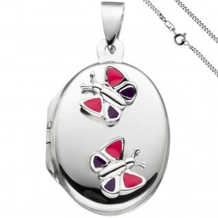 Medaillon Schmetterling Anhänger für 2 Fotos oval 925 Silber mit Kette 50 cm