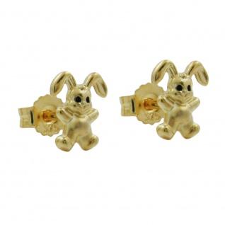 Stecker 7x6mm kleiner Hase matt-glänzend 9Kt GOLD