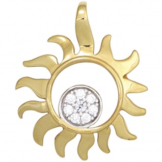 Anhänger Sonne 585 Gold Gelbgold bicolor 8 Diamanten Brillanten 0, 07ct.