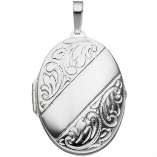 Medaillon oval für 2 Fotos 925 Sterling Silber Anhänger zum Öffnen