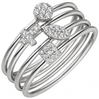 Damen Ring 4-teilig 925 Sterling Silber 30 Zirkonia Silberring