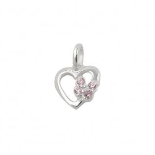 Anhänger 10x9mm Herz mit Schmetterling Zirkonias pink Silber 925