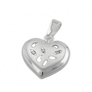 Anhänger 14x14mm Herz mit 3 Zirkonias matt-glänzend Silber 925