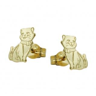 Stecker 8x5mm Katzen teil-mattiert 8Kt GOLD