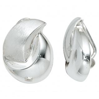 Ohrclips 925 Sterling Silber rhodiniert mattiert Ohrringe Clips