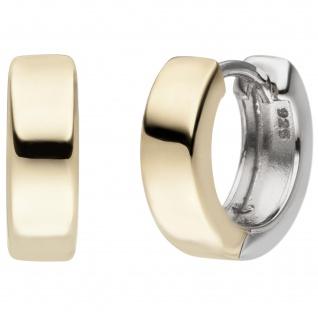 Creolen 925 Silber bicolor vergoldet Ohrringe