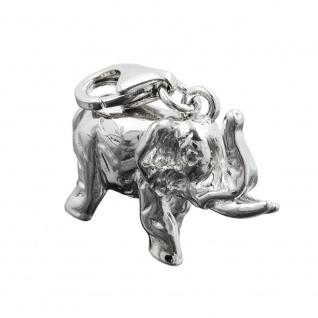 Anhänger 19x14x9mm Charm Elefant rhodiniert Silber 925
