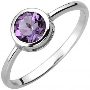 Damen Ring 925 Sterling Silber 1 Amethyst lila violett Silberring