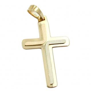 Anhänger, Kreuz massiv 3-farb. 14Kt GOLD