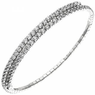 Armspange / offener Armreif 925 Silber mit 96 Zirkonia Armband flexibel