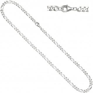 Figarokette 925 Silber diamantiert 50 cm Kette Halskette Silberkette Karabiner - Vorschau 1