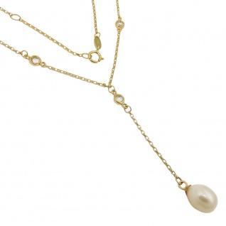 Kette 1mm Y-Kette Collier mit Zuchtperle und Zirkonias 9Kt GOLD 45cm