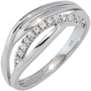 Damen Ring 333 Gold Weißgold mit Zirkonia Weißgoldring