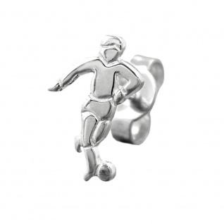 Stecker 10x7mm Fußballspieler Silber 925