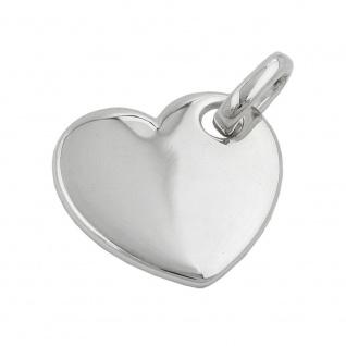 Anhänger 21x20mm Gravurplatte Herz glatt glänzend Silber 925