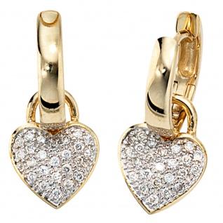 Creolen Herz 585 Gold Gelbgold bicolor 48 Diamanten Brillanten Ohrringe