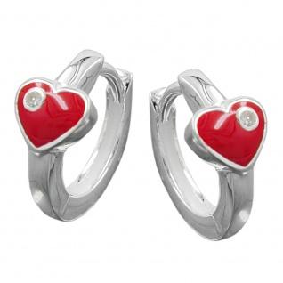 Creole 13x2mm Herz rot mit Zirkonia Silber 925