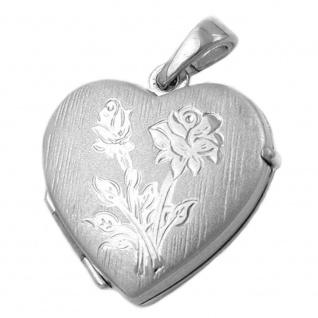 Anhänger 16x17mm Medaillon Herz mit Rose matt-glänzend rhodiniert Silber 925