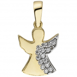 Anhänger Engel Schutzengel 333 Gold Gelbgold 15 Zirkonia