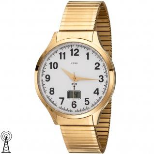 JOBO Herren Armbanduhr Funk Funkuhr Edelstahl gold vergoldet Flexband Datum - Vorschau 1