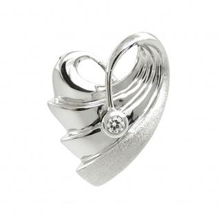 Anhänger 20x15mm Herz mit Zirkonia rhodiniert Silber 925