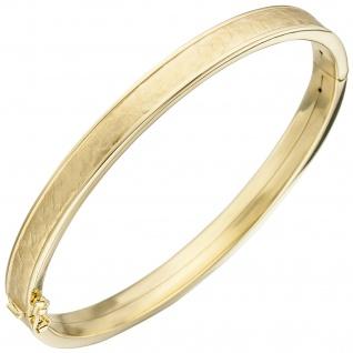 Armreif Armband oval 375 Gold Gelbgold teil matt Goldarmband Goldarmreif