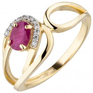 Damen Ring 333 Gold Gelbgold 1 Rubin 11 Zirkonia