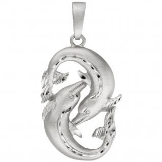 Anhänger Sternzeichen Fische 925 Sterling Silber teil matt Sternzeichenanhänger
