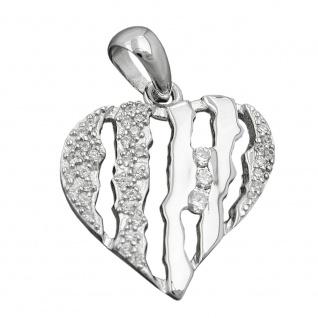Anhänger 19x19mm Herz mit Zirkonias rhodiniert Silber 925