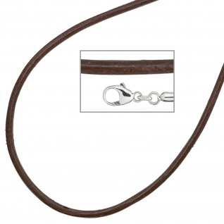 Collier Halskette Leder braun 925 Silber 42 cm Lederkette Karabiner