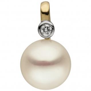 Anhänger 585 Gold Gelbgold 1 Süßwasser Perle 1 Diamant Brillant
