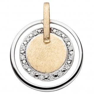Anhänger 585 Gold Gelbgold Weißgold bicolor eismatt 14 Diamanten Brillanten